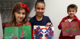 4559:Turmas do 3º ano produzem pinturas com barbantes